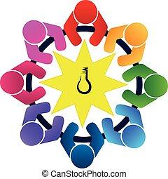logo, collaboration, personnes réunion