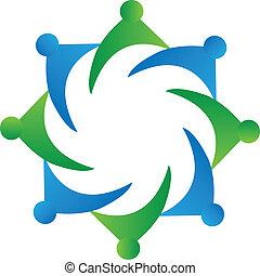 logo, collaboration, vecteur, business