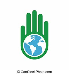 Logo combination of a hand and earth.