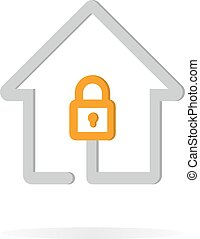 Logo combination of a lock and house.