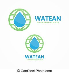 Logo combination of water and earth - Vector logo design...