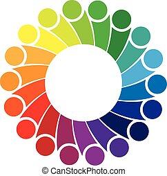 logo, communauté, gens