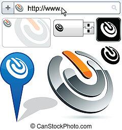 logo, commutateur, résumé, business, design.
