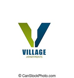 logo, compagnie, appartment, village