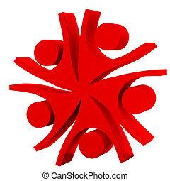 logo, compagnie, collaboration, rouges, heureux