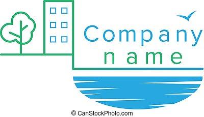 logo, compagnie, construction, contour