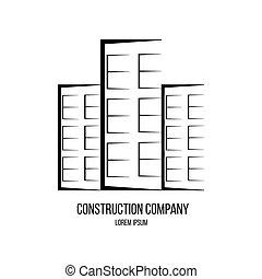 logo, compagnie, construction