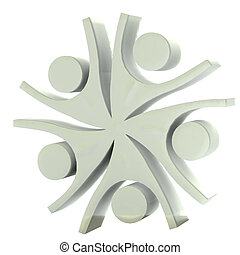 logo, compagnie, heureux, collaboration, gris