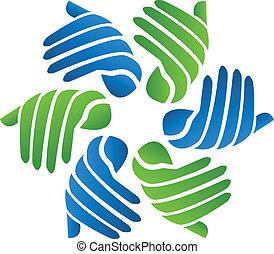 logo, compagnie, vecteur, mains affaires