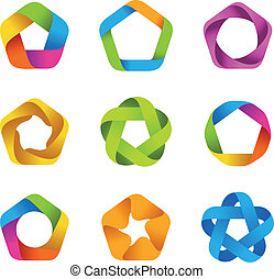 Logo company - Logo set. Infinite shape. Five star icons....