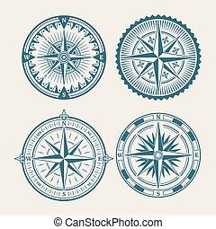 logo, compas, ensemble, marin, vendange