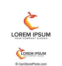 logo, concept, conception, pomme, gabarit