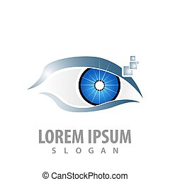 logo concept design. Digital eye. Symbol graphic template element vector