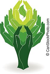 logo, concept, groene, handen