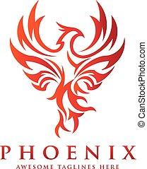 logo, concept, luxe, phénix