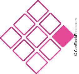 logo, concept, neuf, carrés, business