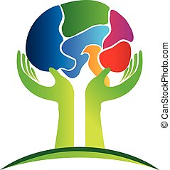 Logo concept of human brain - Mental health logo concept of...