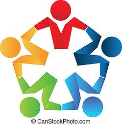 logo, concept, partenaires, business, icône