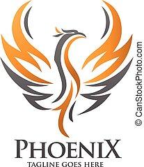 logo, concept, phénix