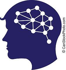 logo, concept, réseau, cerveau