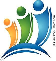 logo, concept, vrienden, vrolijke