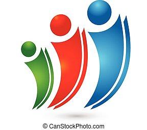 logo, concept, vrolijke , partners