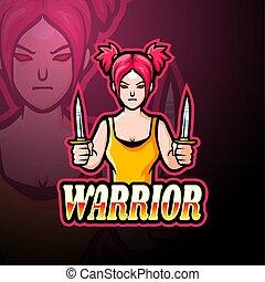 logo, conception, esport, girl, mascotte, guerrier
