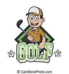 logo, conception, illustration, golf