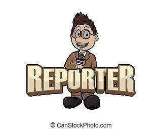 logo, conception, illustration, journaliste