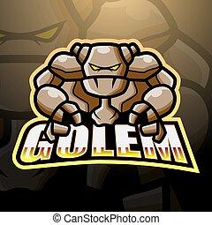 logo, conception, mascotte, esport, golem