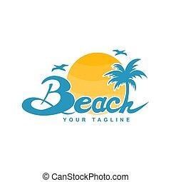 logo, conception, plage