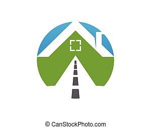logo, conception, route, maison