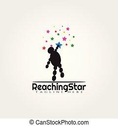 logo, conception, vecteur, étoile, portée