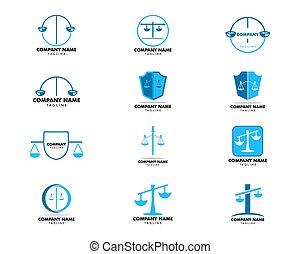 logo, conception, vecteur, gabarit, cabinet juridique, ensemble