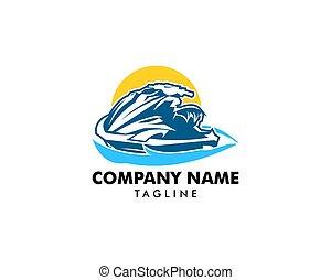 logo, conceptions, ski, jet, gabarit