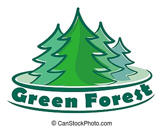 Logo coniferous forest. - Logo with thick coniferous forest...