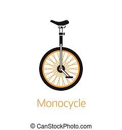 logo, contour, ou, gabarit, icône, bw, monocycle