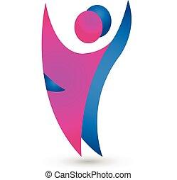 logo, couple, danseur, figures