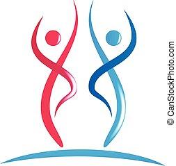logo, couple, fitness, icône