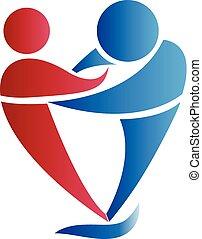 Logo couple hugs in a heart love shape