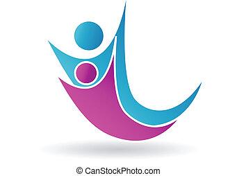 logo, couple, vecteur, équipe