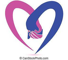 logo,  couple, vecteur, tenue, mains