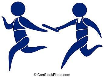 logo, courant, sport, relais