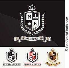 logo, couronne, crête, bouclier, laurier