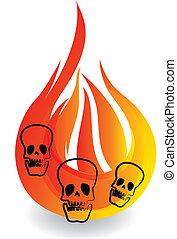 logo, crânes, flammes