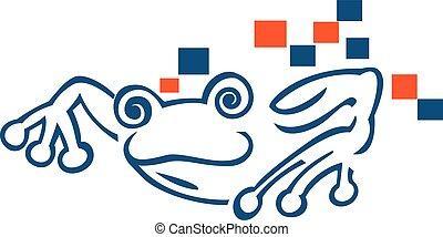 logo, créatif, grenouille, design.