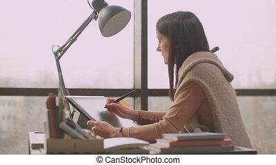 logo, créer, dessine, grand, station travail, écran, concepteur, moderne, conception, graphique, jeune, graphics., girl, windows., bureau, utilisation