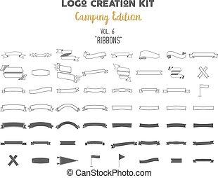 Logo creation kit bundle. Camping Edition set. Ribbons...