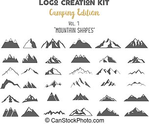 Logo creation kit bundle. Camping Edition set. Mountain...