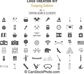 Logo creation kit bundle. Camping Edition set. Travel gear,...